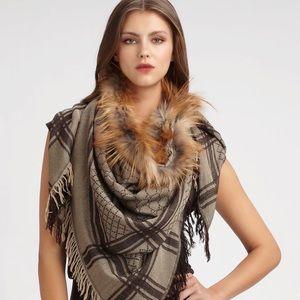 Brand New Gucci Fox Fur-trimmed Scarf